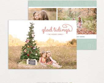 Personalized holiday cards- photo christmas cards- glad tidings