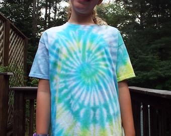 Kids Tie Dye Tee Shirt, Kids L, Childrens Tie Dye Swirl Shirt, Kids Hippie Clothes, Tiedye Tee, Boys Shirt, Girls Shirt, Tween Clothing