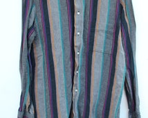 Men's Striped Button Down Shirt / LARGE / Tailored Fit / Colorful Stripes on Black and Gray / Long Sleeve / Magenta, Purple, Mustard, Teal