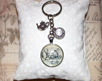 Alice in Wonderland keyring with Mad Hatter's Tea Party, teapot and tea cup charms