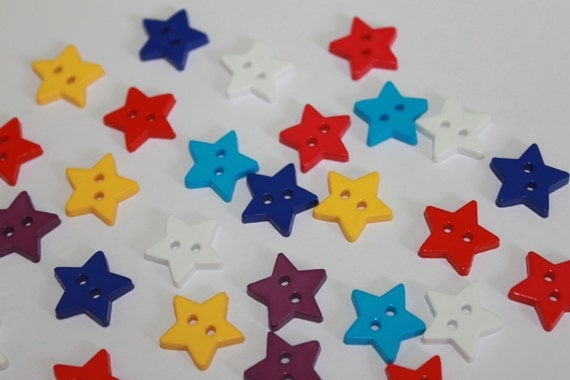 Tiny Cute Star Shape Buttons 2 Hole Little 15 Mm Stars