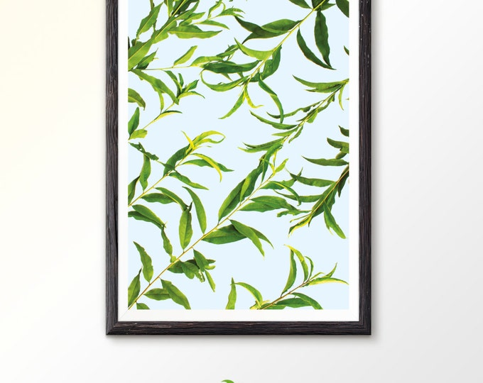 Leaves photography Instant Download Botanical poster Instant Download Modern art Peach prints Peach leaves Floral print Green wall decor