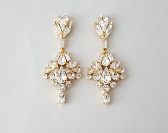 Wedding Earrings, Chandelier Bridal Earrings, Gold Earrings, Vintage Wedding, Crystal Earrings, Dangle Earrings, Wedding Jewelry  - GILDA