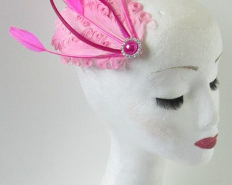 Hot Pink Feather Dress Fascinator Headpiece Vintage Flapper 1920s Hair Clip Races Bubblegum Hair Clip Great Gatsby Weddings Races O81