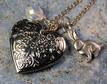 Rabbit Locket Silver Necklace for girls or women
