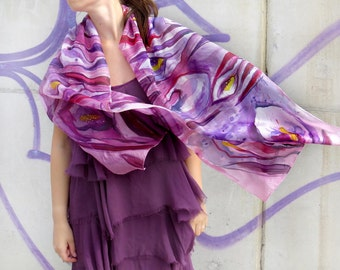 Hand painted silk scarf Calla Lilies Purple Silk Scarf Floral scarf painted Bridesmaid Wedding Lili silk scarf handpainted Mothers day gift