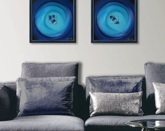 Blue Turquoise 3D Wall Art, Abstract String Art Mandala with Reliefs, Calming Spiritual Sacred Geometry for Home, Office or a special  Gift