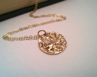 Griffin necklace in 14Kt gold filled and natural brass; gold griffyn necklace; long gold pendant necklace; Greek coin replica necklace