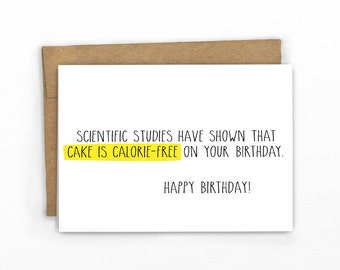 Funny Birthday Card | Happy Birthday Card ~ Science and Calorie-Free Cake