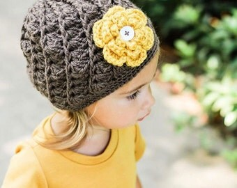 Crochet Hat for Girls Baby Toddler Kids Beanie Flower Hat Brown