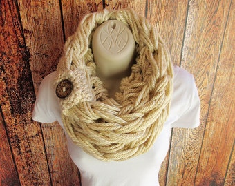 Super Bulky Single Loop Arm Knit Infinity Scarf, Infinity Scarf, Chunky Cowl, Bulky Scarf