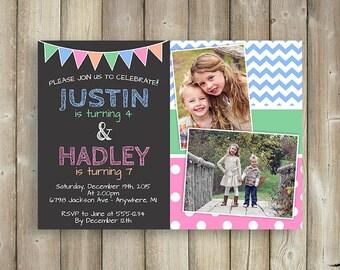 twins birthday invitation joint birthday party invite, invitation samples