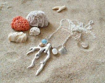 Coral branch necklace - Long silver plated necklace with coral branch pendant