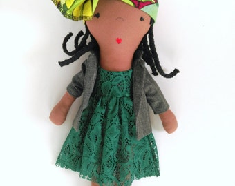 New SALE price! Black fabric doll with cornrows