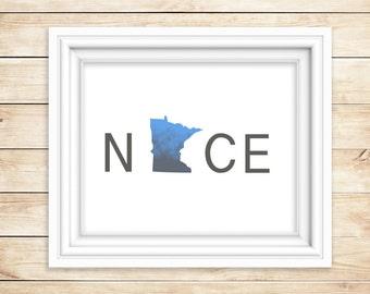 Minnesota NICE Watercolor Print   MN Wall Art   State Watercolor Art Print   Minn. Wall Decor   State Folk Art  