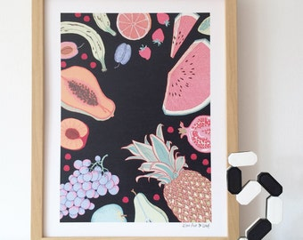 limited edition print illustration drawing (fruits market)