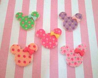 Girly Mouse Ear Resin Cabochons with Cute Strawberries, #759