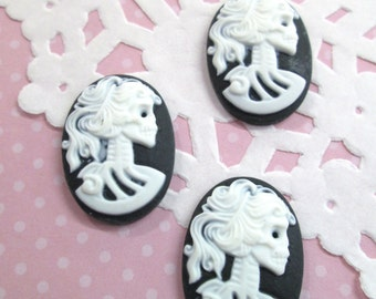 18x25mm Black Skeleton Cameo Cabochons, Day of the Dead, Lady Cameos