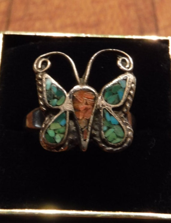 Vintage Sterling  Silver Butterfly Ring Navajo Native American  4.6 grams Size 7.25 Sterling Silver Turquoise Coral Inlay Ring Sterling