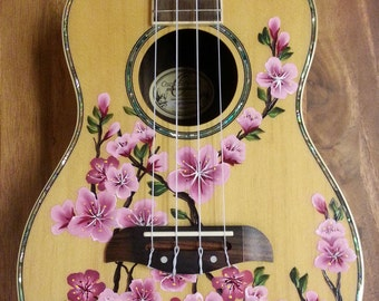 YOUR Concert or Tenor Ukulele Handpainted with Cherry Blossoms