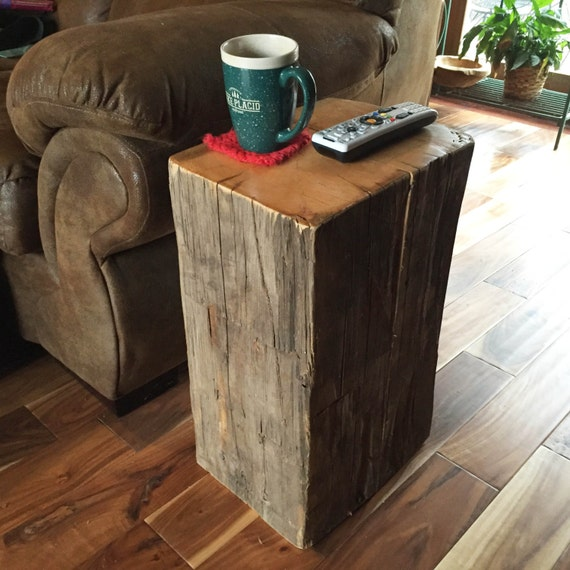 Rustic Barn Beam Side Table Or End Table. Beautiful Rustic