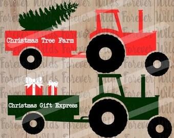 Christmas SVG - Christmas Tractor svg - Christmas Monogram svg - Farm Tractor - SVG File - SVG Download-Cricut - Cameo - Explore