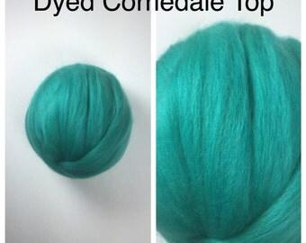Jade Corriedale Top / Dyed Corriedale Roving / Corriedale Felting / Spinning Fiber / 2oz 4oz 8oz