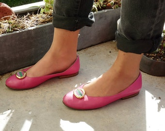 Ballerinas vintage fabrics leather pink years 80 gold buckle and yoke Ventipercento colored on the 37.5 EN kick / 6 US / UK 4.5