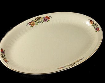Platter, Floral Pattern, Serving Platter, Oval, Cream Colored