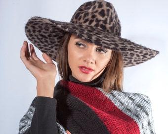 Leopard print fedora hat, animal print hat, wide brim fedora hat, Fall fedora hat, New York style hat, boho Fedora, Wide brim hat, Glamour