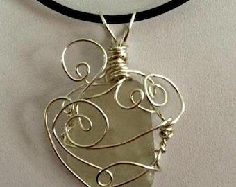 Wire Wrapped Sea Glass Pendant (White)