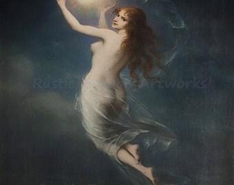 "Karl Schweniger ""Morning Star"" 1903 Reproduction Digital Print Beautiful Woman in Night Sky"