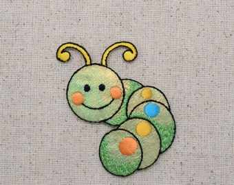 Childrens - Large - Shimmery Green Caterpillar - Iron on Applique - Embroidered Patch - 155603A
