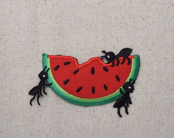 Watermelon Slice - Covered in Ants - Picnic Food - Fruit - Iron on Applique - Embroidered Patch - 681042A