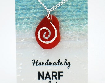 Cherry Red Recycled Glass Necklace with Silver Spiral