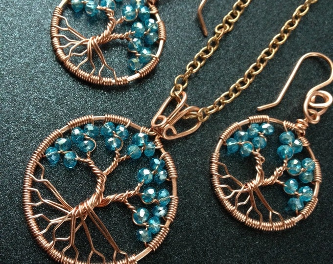 Aquamarine Tree-Of-Life Set Copper Wire Wrapped Pendant Aquamarine Jewelry March Birthstone Pisces 19th Anniversary Gift 19th Birthday Gift