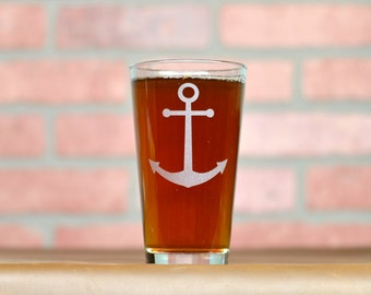 Anchor Glass. Etched Pint Glass. Beer Gifts.