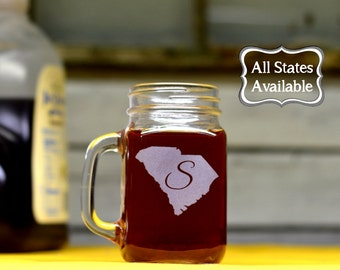 Mason Jar Glasses. Custom - Pick Any State & Letter. Etched Mason Jars.