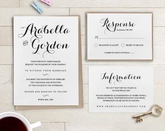 Wedding Invitation template set printable Wedding, Byron, template Invitation suite | RSVP and info card | Any colour | Custom Wedding