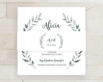 Rustic belly band wedding invitation belly band template rustic printable | Leaves wreath band | Royal Gardens | Editable printable