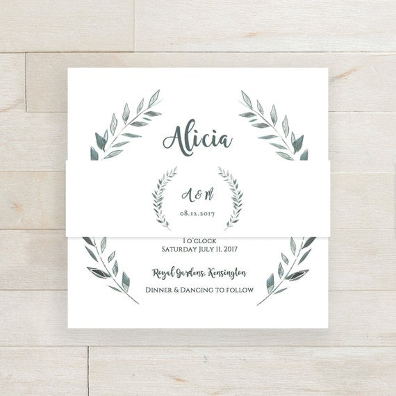 Rustic Belly Band Wedding Invitation Template Printable