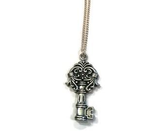 Key Charm Necklace - Silver Key Pendant Necklace - Silver Key Necklace - Key Necklace - Silver Jewelry - Key Jewelry