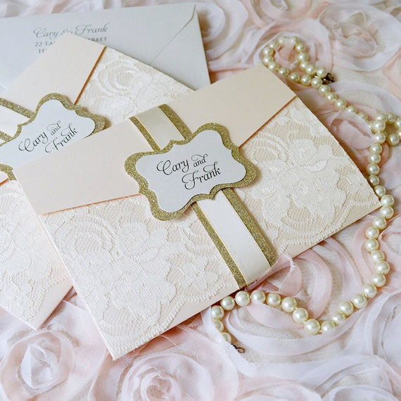 CARY - Blush Wedding Invitation with Ivory Lace and Gold Glitter - Trifold Pocket Invitation - Gold Glitter Belly Band w/ Blush Pink Ribbon