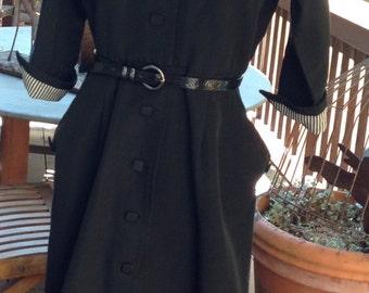 Vintage 1940's or 1950's black dress