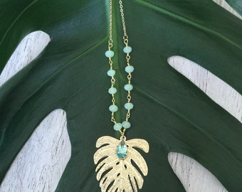 TROPICAL MONSTERA necklace
