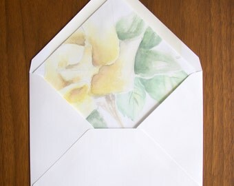 Envelope Liner Printable, White Rose Watercolor - A2, A6, A7 INSTANT DOWNLOAD