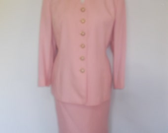 Vintage womens skirt suit by Eastex Ladies Pink Skirt Jacket Suit 1980's Vintage style medium Size 12 14 UK British made