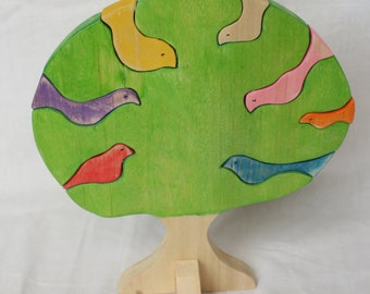 Decorative Wooden Tree with Birds, Pinewood