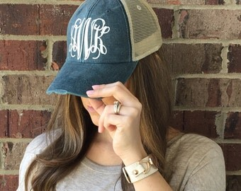 Monogram Distress Hat, Monogram Trucker Hat, Monogram Cap, Monogram Baseball Cap, Distressed Personalized Hat, Chambray