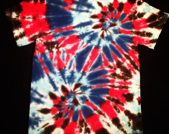 Fireworks Double Spiral Tie Dye T-Shirt- Red/Black/Royal Blue/Light Blue/